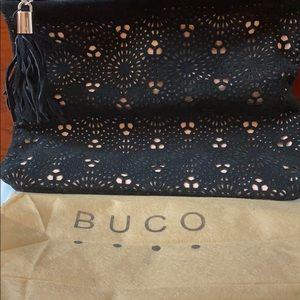 Black suede evening bag